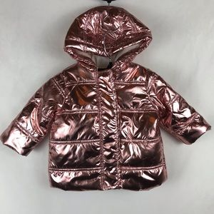 First Impressions Pink Metallic Puffer Jacket Hood
